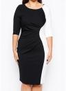 Vestido de tamanho feminino com contraste Cor Vestido de três quartos com manga curta R OL