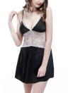 Silk Satin Цветочные кружева без рукавов V-образным вырезом Мягкие женские ночные рубашки