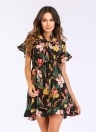 Women Floral Mini Dress V Neck Flare Sleeve Elastic Waist  A-Lined Dress