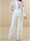 Sheer Mesh Ruffle Trim Back Zipper O Neck Mulher Jumpsuit