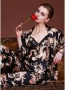 Женщины Пейсли Печать Трёх частей Pajama Set Халат Жилет Брюки