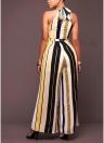 Women Striped Wide Leg Jumpsuit Halter Neck Sleeveless High Waist Romper Bodysuit