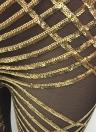 Shiny Sequined Mesh Halter Plunge V Neck espalda abierta Jumpsuit de las mujeres