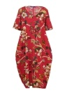 Vintage Cotton Floral Print Dress Casual Colorful with Pockets Loose Dress