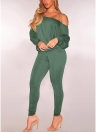 Women Solid Two Piece Set Slash Neck  Long Sleeve Tops & Pants Suit