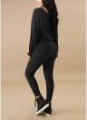 Pantalón de cintura acanalada con cuello redondo y cintura alta para mujer