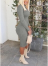 Women Ribbed Turtle Neck Long Sleeve Bodycon Dress