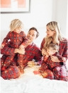 Familie Mom Frauen zweiteilige Set Plaid Pyjama Nachtwäsche House Wear Top Hosen