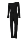 Women Off the Shoulder Knitted Jumpsuit Long Sleeve Drawstring Waist Bodycon Rompers