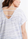 Tamanho maior V Stripes Cut Out Neck Neck Short Sleeve Casual Tops