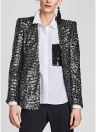 Women Long Sleeve Vintage Blouse Shirt Sequin Pockets Ladies OL Loose Blouse