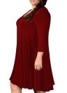 Mulheres vestido plissado vestido V pescoço três quartos de manga