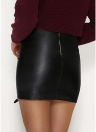 Women PU Leather Skirt Lace Up High Waist Zipper Short Pencil Skirt