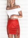 Falda de cuero de la PU de las mujeres ata para arriba la falda corta del lápiz de la cremallera de la cintura alta