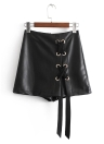PU Lace Up Faux Leather Back Zipper Mini Skirts