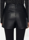 PU Lace Up Faux Leather Back Zipper Mini Skirts