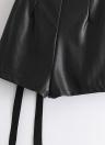 PU Lace Up Faux Leather Back Zipper Mini faldas
