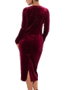 Plus Size Velvet O-Neck mangas compridas Split elegante vestidos Midi