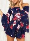 Fuera del hombro Mono corto Mono corto estampado floral Mujeres Mono casual