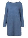 Mulheres Loose Knit Sweater Dress Long Sleeves Pockets Party Mini Straight Dress