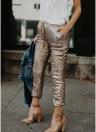 Recortada Brillante lentejuelas con cordón pantalones ajustados flacos