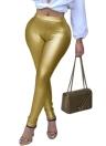 Brillante color metálico elástico cintura flaca sexy lápiz pantalones
