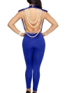 Pearl Chain Backless O cuello Sleevelss Mujeres Sexy Jumpsuit