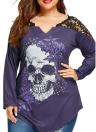 Plus Size Skull Print Lace Shoulder Long Sleeve Women T-Shirt