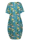 Vintage Floral Print O-Neck Dress Short Sleeve Pockets Casual Long Dress