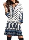Women Retro Paisley Loose Dress Casual Pockets Short Mini Dress