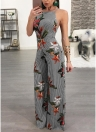 Mulheres Jumpsuit Floral Print Wide Legs Backless Sleeveless Long Romper Body Suits