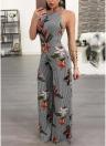 Женские комбинезоны Цветочные печати Широкие ножки Backless без рукавов Длинные Romper Костюмы для тела