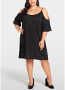Women Plus Size Cold Shoulder Dress  Half Sleeve Oversized Evening Party Dress