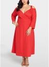 Women Plus Size Cold Shoulder Dress Long Sleeve Cocktail Evening Party Dress