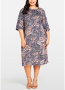 Abito da donna Plus Size Abito da donna Paisley Floral Print 3/4 Sleeve Party oversize
