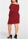 Женщины Плюс Размер Трикотажное платье Крест Фронт с длинным рукавом Тонкий мини платье