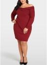 Women Plus Size Knitted Dress Cross Front Long Sleeve Slim  Mini Dress