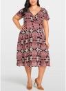 Women Plus Size Dress Floral Print Slim Large Size Dress