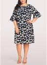 Vestido de gran tamaño de las mujeres vestido de tamaño extra grande flojo ocasional de la impresión floral