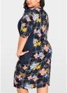 Vestido largo a media pierna con estampado floral de las mujeres Vestido extragrande a la rodilla