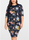 Women Plus Size Floral Print Midi Dress  Knee Length Oversized Dress