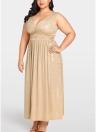Women Plus Size Gold Floral Maxi Dress  Evening Party Club Long Dress