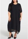 Women Plus Size Chiffon Dress Asymmetric Hem Solid Casual Loose Elegant Dress