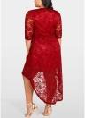 Women Plus Size Lace Dress Cross Front High-Low Hem Party Midi Dresses