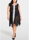 Women Plus Size Chiffon Dress Sheer  Beach Midi Dress  Irregular Shift Dress