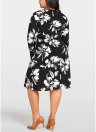 Women Plus Size Floral Printed Dress O-Neck Long Sleeve Loose Midi Dress