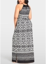 Women Plus Size Printed Maxi Dress Cut Out O-Neck Boho Long Dress