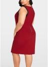 Femmes Plus La Taille Sans Manches Robe Couleur Splice O-cou Parti Droite Mini Robes