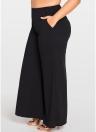 Pantalones anchos de las mujeres de los pantalones de la pierna ancha del tamaño extra grande Bolsillos