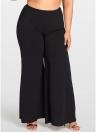 Women Plus Size Wide Leg Pants Pockets Solid Flare Pants Trousers